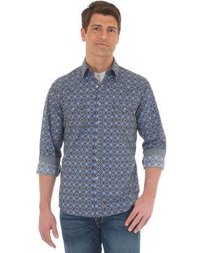 Wrangler Men's Blue Retro Premium Western Shirt - Tall , Blue, hi-res