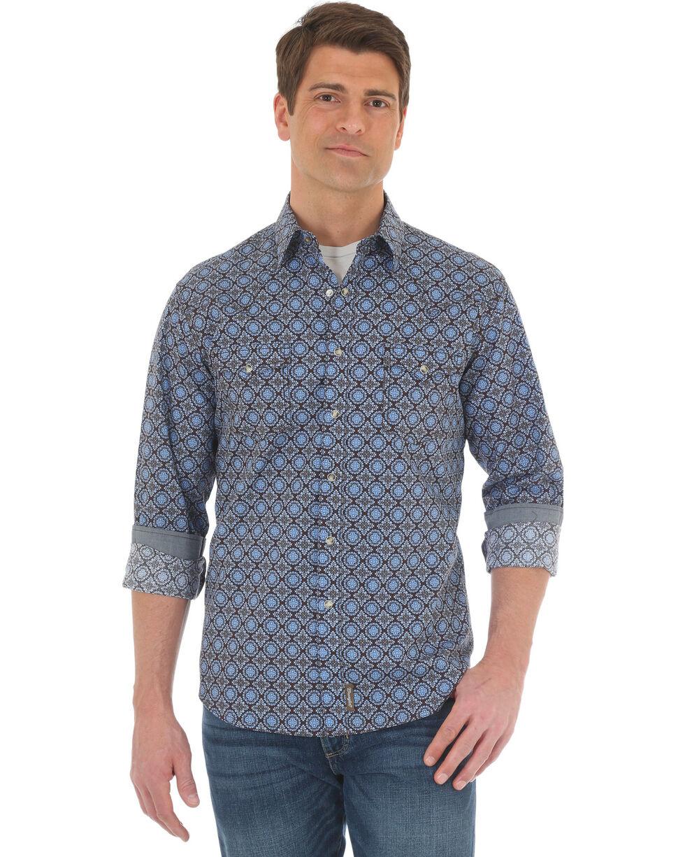 Wrangler Men's Blue Retro Premium Western Shirt - Tall , Blue, hi-res