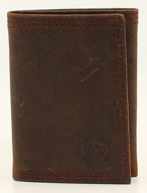 Ariat Basic Distressed Tri-Fold Wallet, Distressed, hi-res