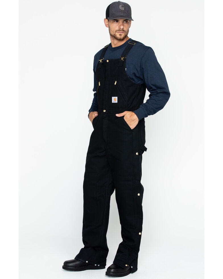 Carhartt Men's Zip-to-Waist Bib Work Overalls , Black, hi-res