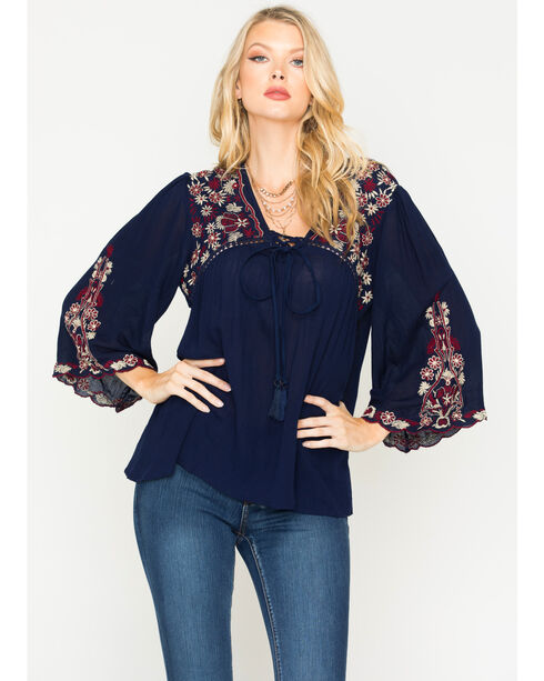 Angie Women's Embroidered Long Sleeve Peasant Top, Navy, hi-res