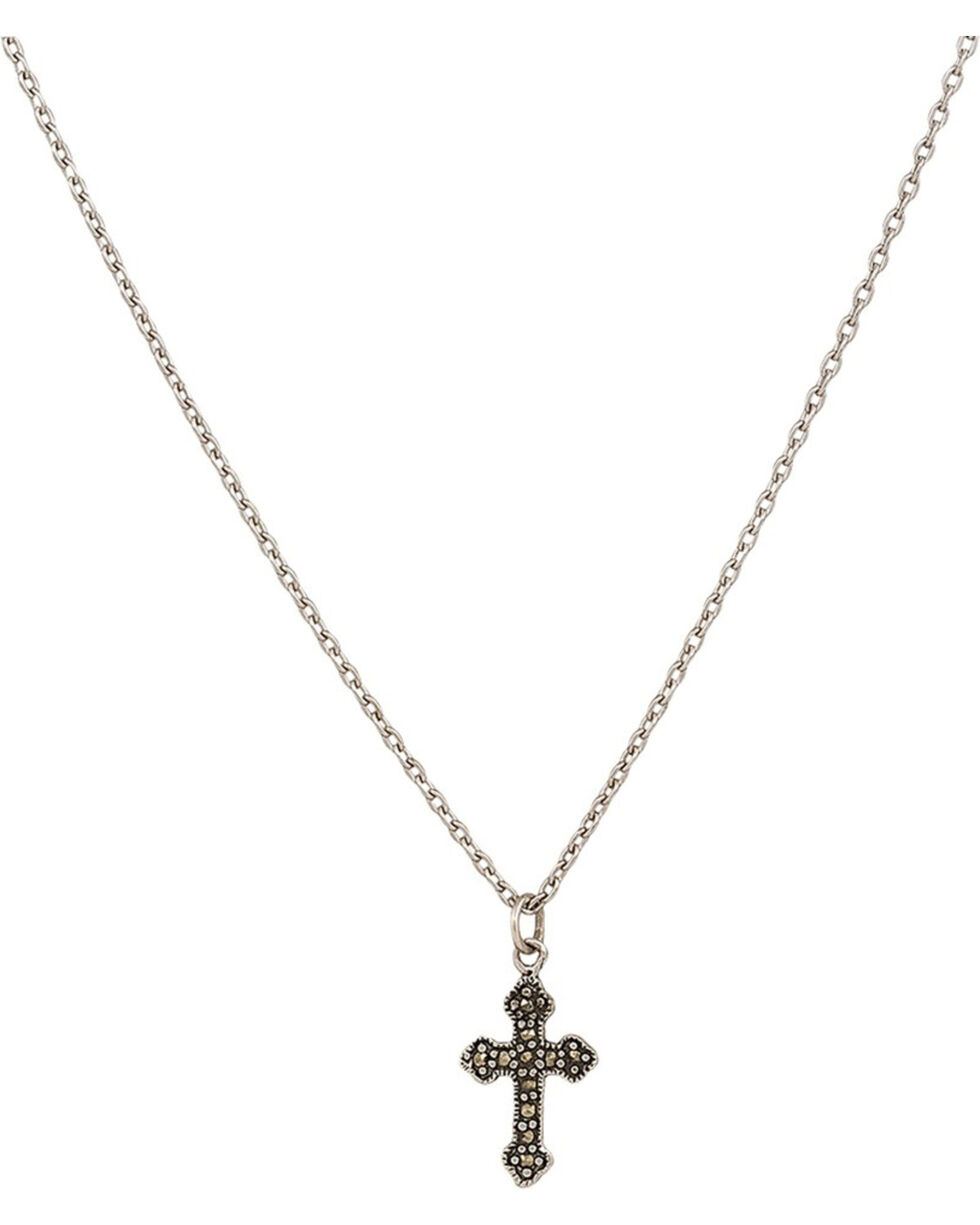 Montana Silversmiths Women's Little Sunday Marcasite Cross Choker Necklace , Silver, hi-res