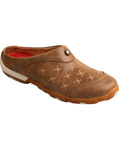 Twisted X Women's Slip on Driving Moccasins Mule - Round Toe, Brown, hi-res