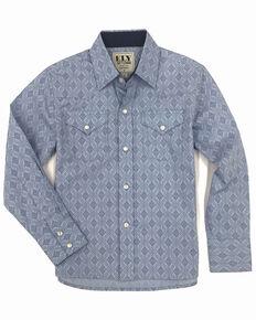 Ely Cattleman Boys' Assorted Aztec Border Print Long Sleeve Western Shirt , Blue, hi-res