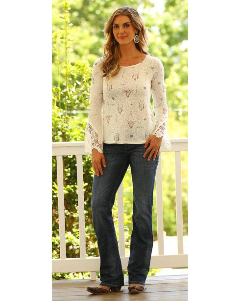 Wrangler Women's Dreamcatcher Long Sleeve Top, Cream, hi-res