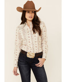 Roper Women's Vintage Wallpaper Floral Print Long Sleeve Snap Western Shirt , Ivory, hi-res