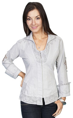 Scully Cross Embroidered Long Sleeve Top, Lt Grey, hi-res