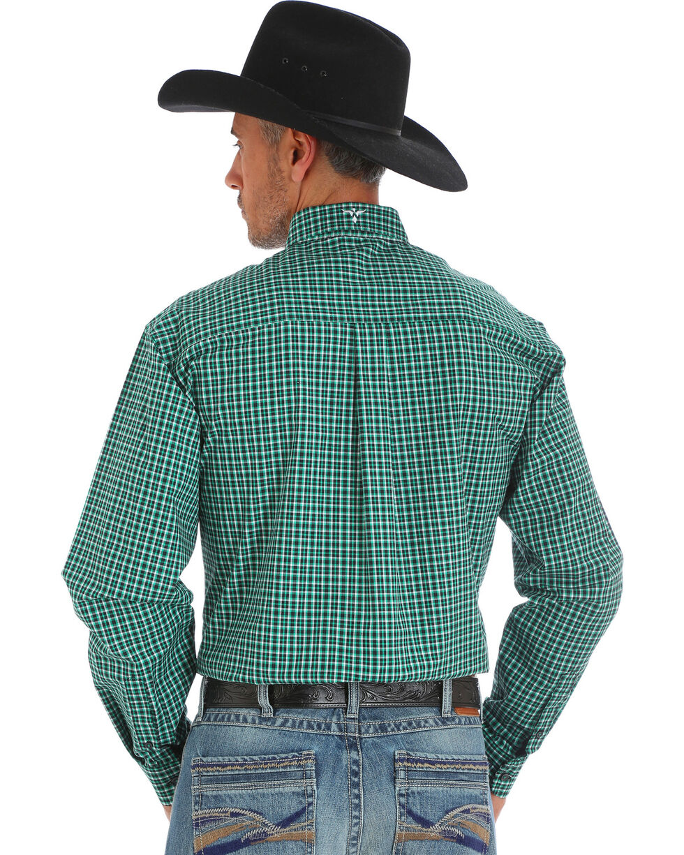 Wrangler 20X Men's Green Plaid Advanced Comfort Competition Long Sleeve Western Shirt, Green, hi-res