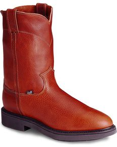 Justin Men's Conductor Electrical Hazard Pull-On Work Boots - Soft Toe, Copper, hi-res