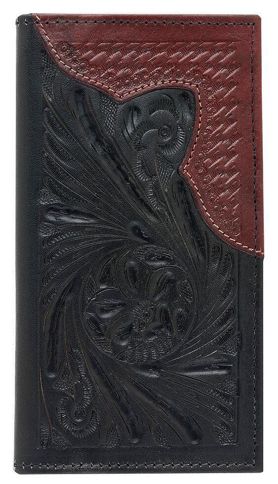 American West Men's Rodeo Mahogany Leather Wallet, Black, hi-res