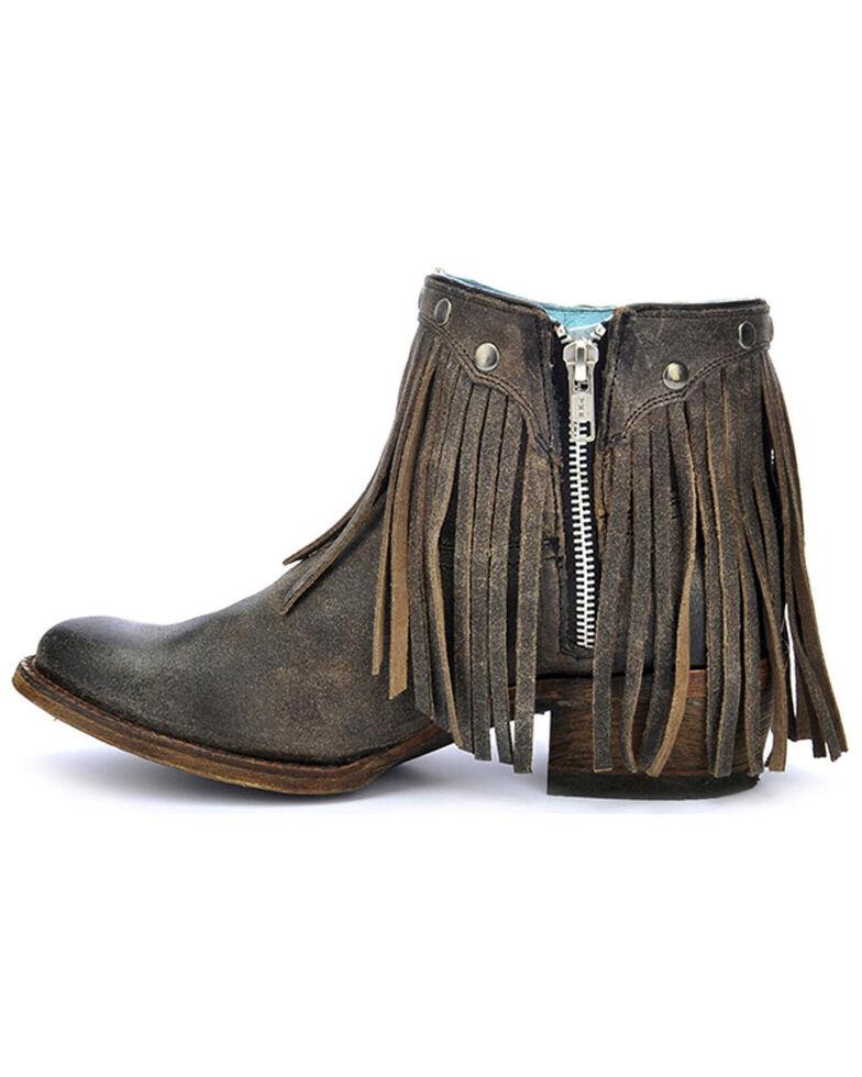 Corral Women's Fringe Booties - Round Toe, Grey, hi-res