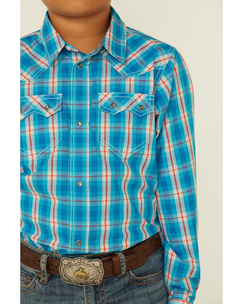 Cody James Boys' Briar Patch Plaid Long Sleeve Snap Western Shirt , Teal, hi-res
