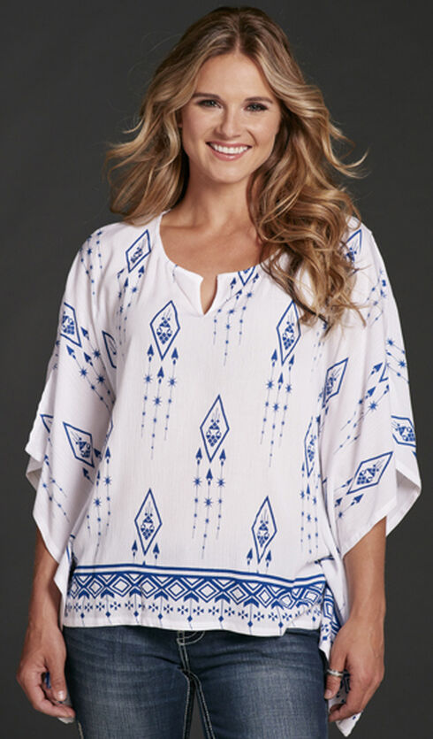Cowgirl Up Poncho Style Tribal Print Blouse, White, hi-res