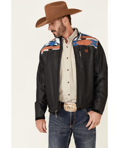 HOOey Men's Charcoal Aztec Print Zip-Front Softshell Jacket , Charcoal, hi-res