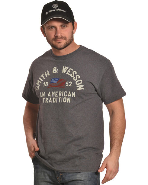 Smith & Wesson Men's Charcoal An American Tradition Tee , Charcoal, hi-res