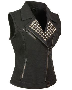 Milwaukee Leather Women's Studded Zip Front Denim Vest - 5X, Black, hi-res