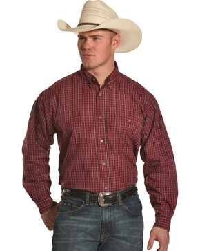 Wrangler Men's Red Rugged Wear Blue Ridge Western Shirt - Big & Tall , Red, hi-res