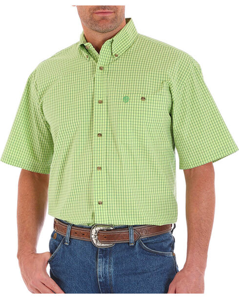 Wrangler George Strait Lime Check Short Sleeve Shirt, Bright Green, hi-res