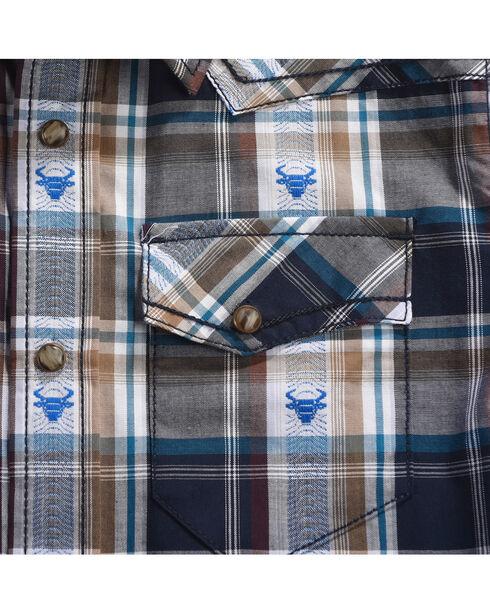 Cody James Boys' Bull Accented Long Sleeve Shirt, Navy, hi-res
