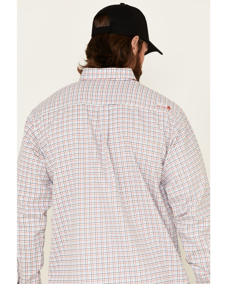 Ariat Men's FR Gauge White Plaid Long Sleeve Button-Down Work Shirt, White, hi-res