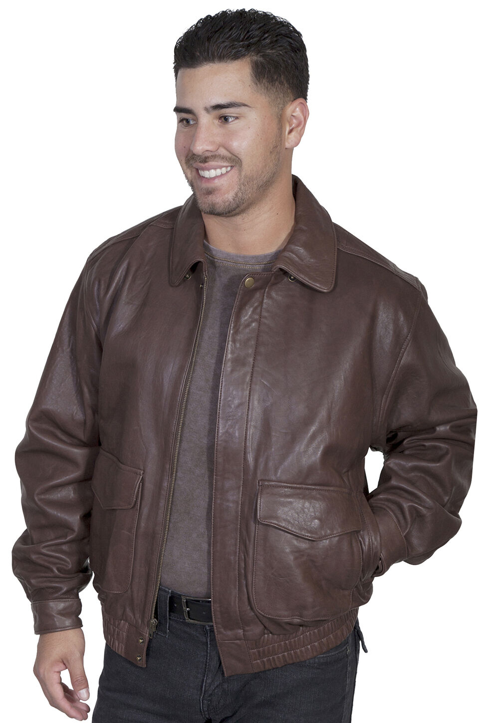Scully Rugged Lambskin Leather Jacket, Dark Brown, hi-res