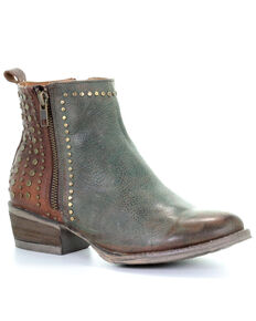 Circle G Women's Green & Brown Studded Fashion Booties - Round Toe, Green, hi-res