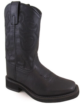 Swift Creek Youth Boys' Roper Western Boots - Square Toe, Black, hi-res