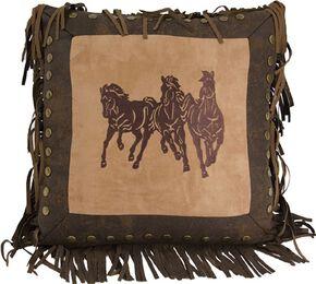 HiEnd Accents Three Horses Fringe Pillow, Multi, hi-res