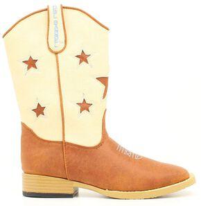 Double Barrel Boys' Lone Star Side Zipper Cowboy Boots - Square Toe, Brown, hi-res