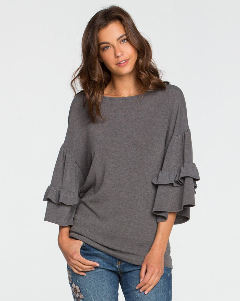Miss Me Women's Grey Tier It Up Top , Grey, hi-res