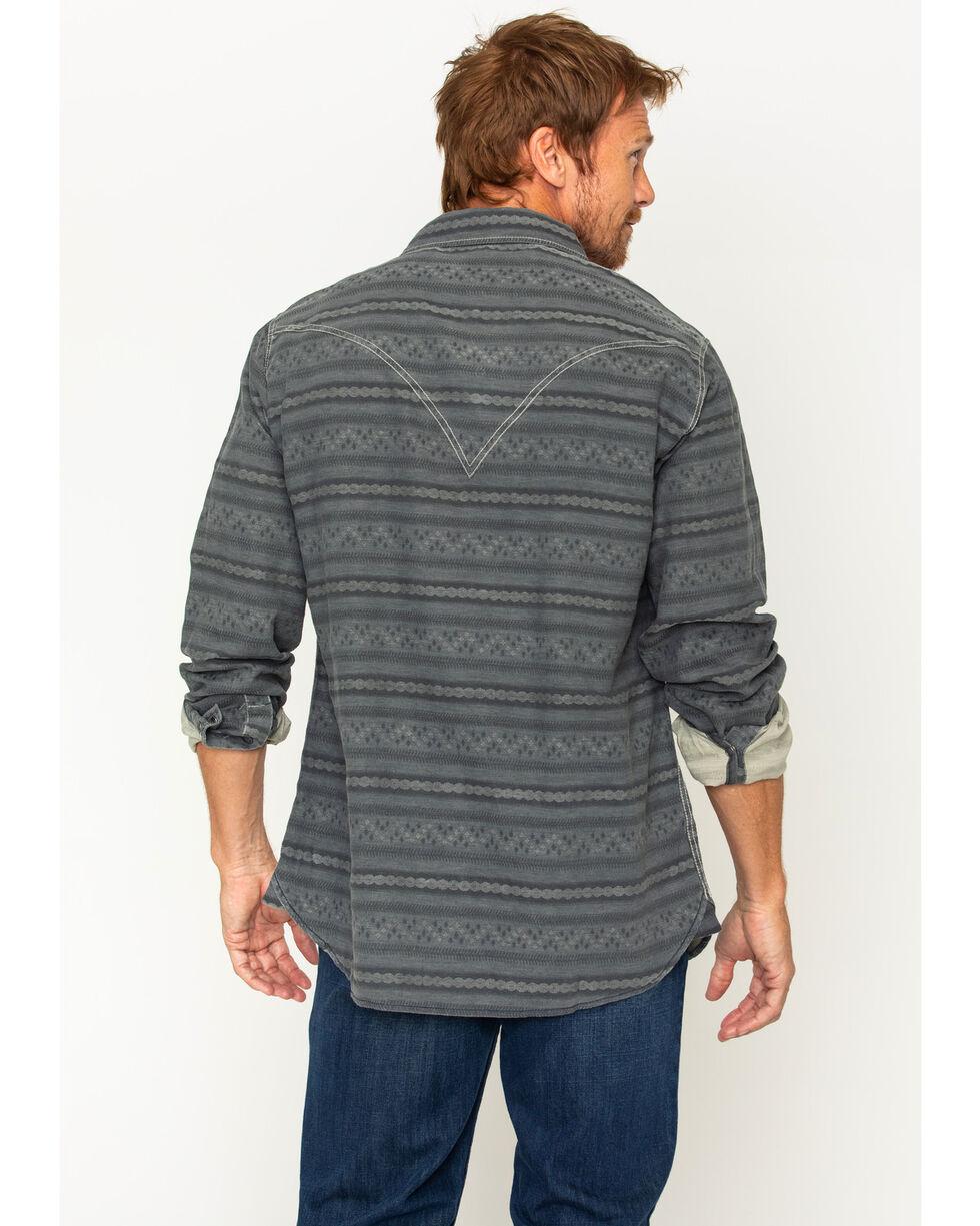 Ryan Michael Men's Horizontal Stripe Jacquard Western Shirt, Dark Blue, hi-res