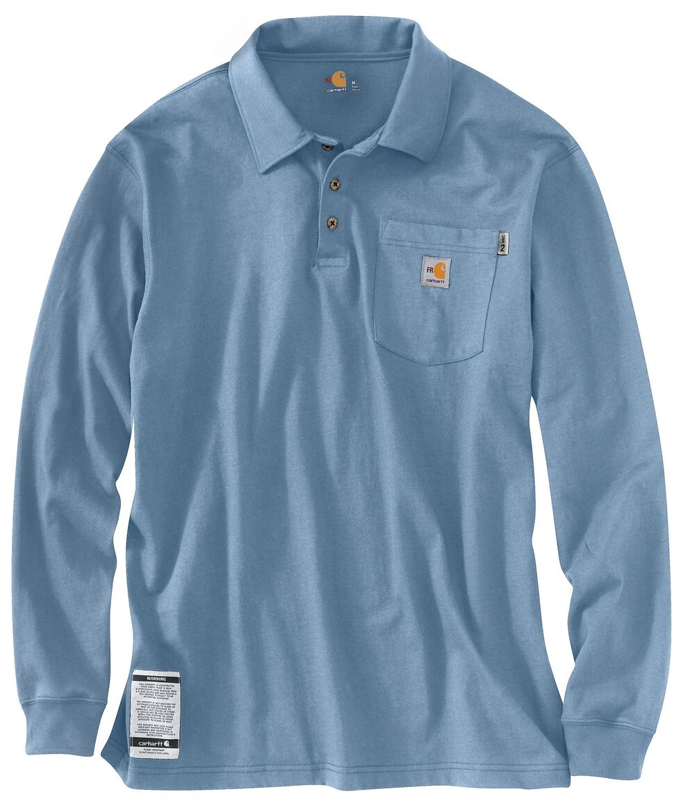 Carhartt Flame Resistant Force Long Sleeve Polo Shirt - Big & Tall, Blue, hi-res