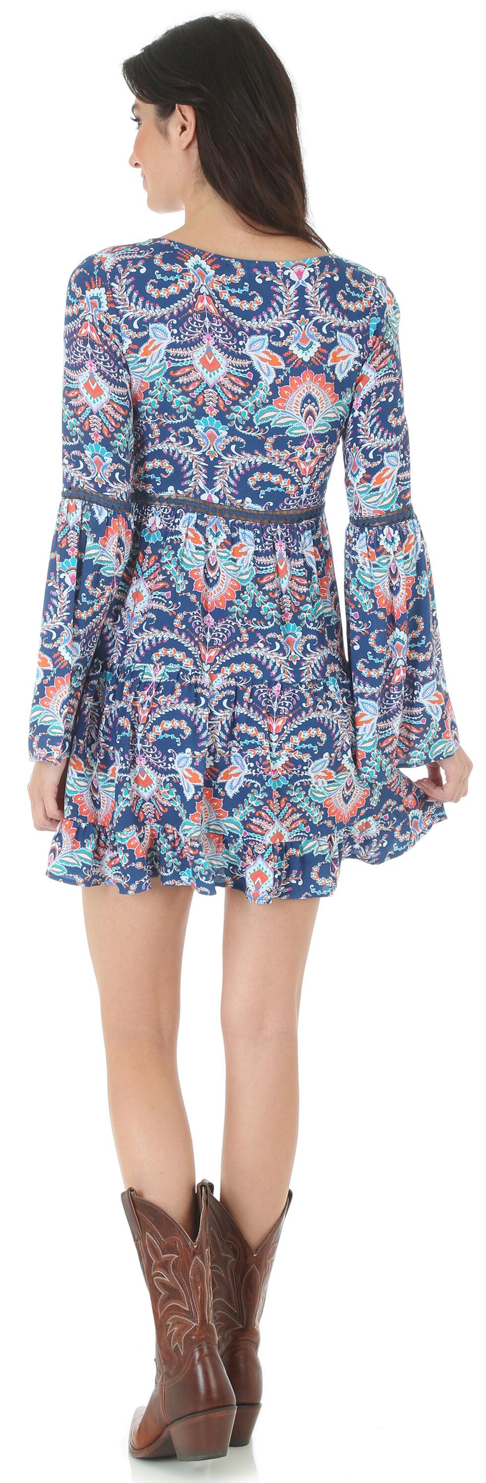 Wrangler Rock 47 Women's Navy Print Crochet Inset Dress, Navy, hi-res