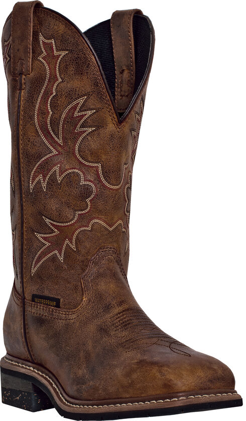 Dan Post Men's Pull-On Distressed Waterproof Work Boots - Steel Toe , Tan, hi-res