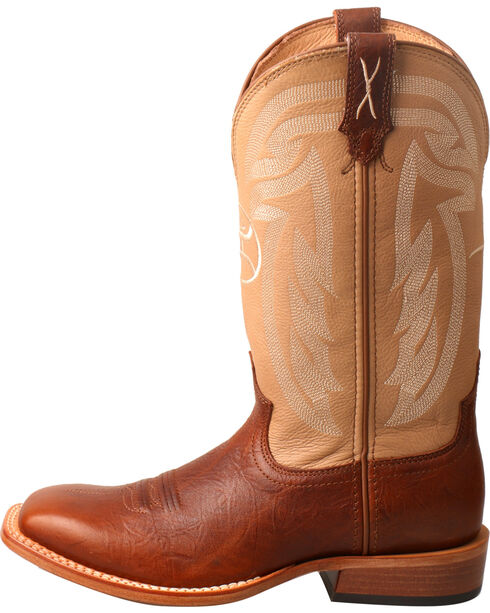 Twisted X Men's Hooey Brown Leather Circular Logo Boots - Square Toe , Lt Brown, hi-res