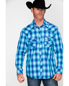 Rock & Roll Denim Men's Crinkle Washed Yarn Dye Plaid Long Sleeve Western Shirt , Blue, hi-res