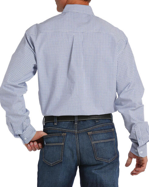 Cinch Men's White Checkered Plaid Plain Weave Long Sleeve Button Down Shirt, White, hi-res