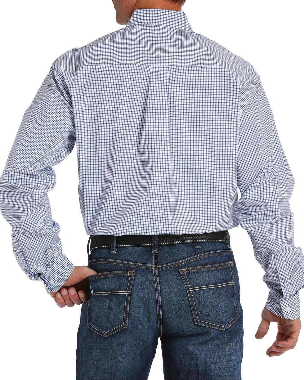 Cinch Men's White Checkered Plaid Plain Weave Long Sleeve Button Down Shirt, White, hi-res