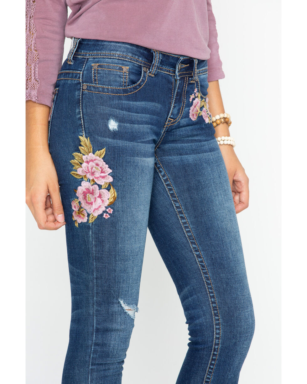 Shyanne Women's Floral Embroidered Frayed Hem Jeans - Skinny, Blue, hi-res
