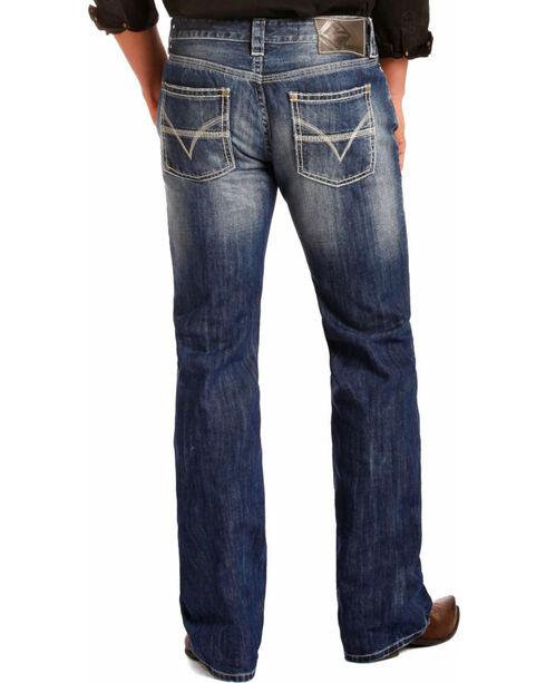 "Rock & Roll Denim Men's Blue Pistol ""V"" Running Stitch Jeans - Straight Leg , Blue, hi-res"