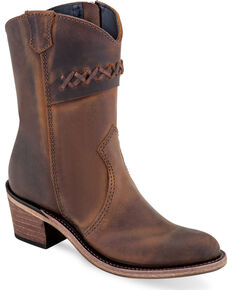 Old West Girls' Brown Stitched Short Booties - Round Toe , Brown, hi-res