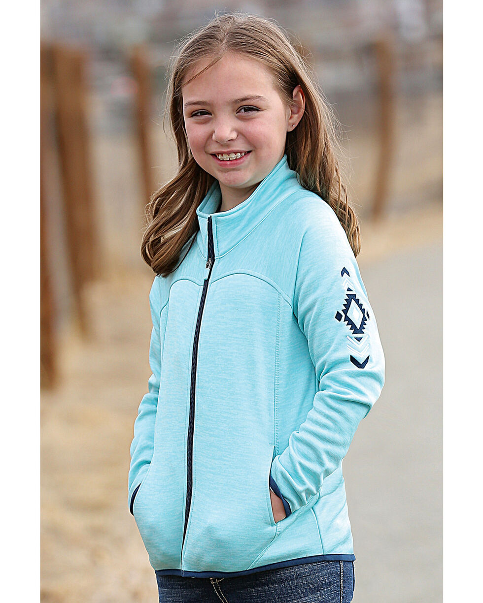 Cruel Girl Girls' Blue Fleece Full Zip Jacket , Blue, hi-res