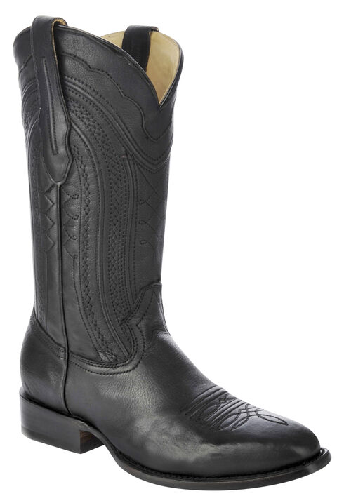 Corral Burnished Leather Cowboy Boots - Square Toe, Black, hi-res
