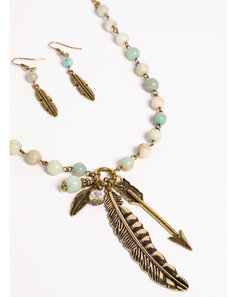 Shyanne Women's Sunset Beaded Feather Charm Jewelry Set, Bronze, hi-res