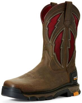 Ariat Men's Intrepid VentTEK Lightning Western Work Boots - Square Toe, Brown, hi-res