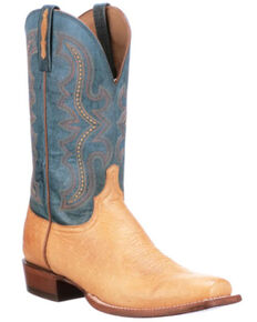 Lucchese Men's Tan Smooth Cecil Western Boots - Wide Square Toe, Tan, hi-res
