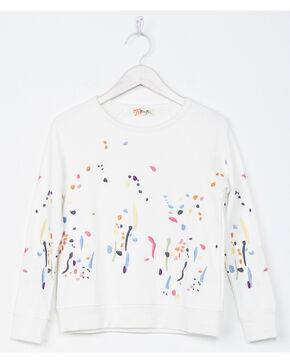 Miss Me Girls' White Paint Splatter Sweatshirt , White, hi-res