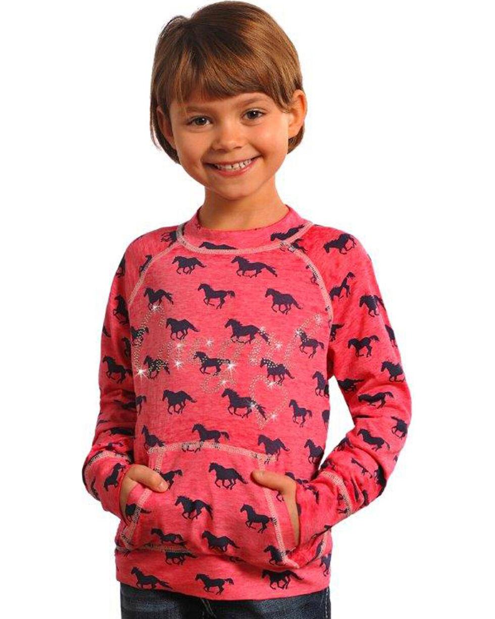Rock & Roll Cowgirl Girls' Pink Horse Print Burnout Sweatshirt , Pink, hi-res