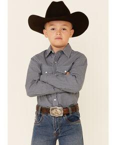 Roper Boys' Meadow Mini Check Plaid Long Sleeve Button-Down Western Shirt , Blue, hi-res
