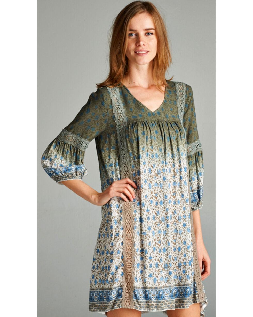 Hyku Women's Ombre Floral Print Dress, Grey, hi-res